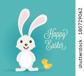easter bunny rabbit with easter ... | Shutterstock .eps vector #180729062