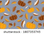 cute pumpkins and leaves...   Shutterstock .eps vector #1807353745