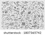 food doodle set. collection of... | Shutterstock .eps vector #1807365742