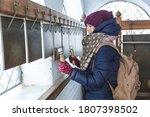 Caucasian Girl In Winter...