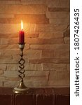 Red Candle  Brass Candlestick....