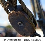 Used Wooden Pulley With Ropes ...
