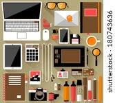 flat office workplace... | Shutterstock .eps vector #180743636
