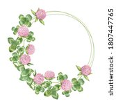 Watercolor Circle Frame With...