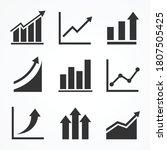 Black Arrow Up Graph Icon Set....