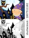 cartoon halloween scene with...   Shutterstock . vector #1807511182