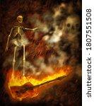 Skeleton On Burning Bass Guitar....