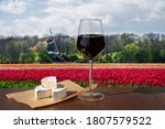 Glass Of Red Wine With Brie...