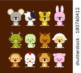 12 chinese zodiac animal | Shutterstock .eps vector #180760412