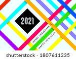 happy new year 2021 text design ... | Shutterstock .eps vector #1807611235