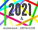 happy new year 2021 text design ... | Shutterstock .eps vector #1807611238