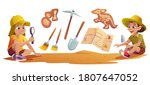 kids playing in archaeologists... | Shutterstock .eps vector #1807647052