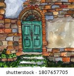 Hand Drawn Watercolor Painting. ...