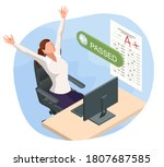 isometric exam sheet with a... | Shutterstock .eps vector #1807687585