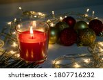 Red Christmas Candle  Burning...