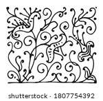 flowers. outline hand drawing.... | Shutterstock .eps vector #1807754392