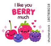 kawaii smiling berries with... | Shutterstock . vector #1807808218