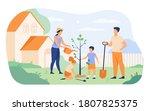 farmer family planting sapling... | Shutterstock .eps vector #1807825375