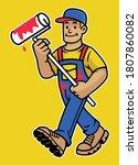 cartoon happy wall painter... | Shutterstock .eps vector #1807860082