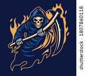 Grim Reaper Mascot With Sickle