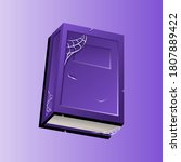 purple halloween old book with...
