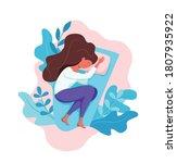 sleepy awake woman in bed... | Shutterstock .eps vector #1807935922