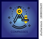 compasses thin line and pixel...