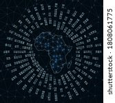 africa digital map. binary rays ... | Shutterstock .eps vector #1808061775