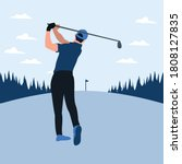 a man swing golf stick in the... | Shutterstock .eps vector #1808127835