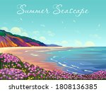 Summer Seascape With Beach ...