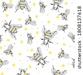 sketch bee seamless pattern.... | Shutterstock .eps vector #1808137618