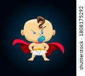 super baby. super boy stands in ... | Shutterstock .eps vector #1808175292