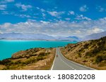 cyclist rides along the winding ... | Shutterstock . vector #180820208