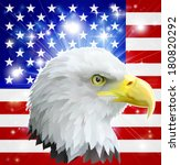 Eagle America love heart concept with and American bald eagle in front of the American flag - stock photo