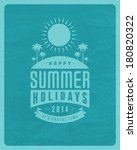 summer vector typography.... | Shutterstock .eps vector #180820322