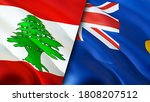 Lebanon and Saint Helena flags. 3D Waving flag design. Lebanon Saint Helena flag, picture, wallpaper. Lebanon vs Saint Helena image,3D rendering. Lebanon Saint Helena relations alliance and