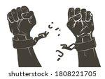 vector raising hands. breaking... | Shutterstock .eps vector #1808221705