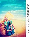 summer holidays bag  sun... | Shutterstock . vector #180825656