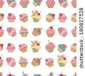 colorful cupcakes pattern   Shutterstock .eps vector #180827528