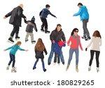 ten people skating on ice.... | Shutterstock .eps vector #180829265