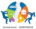 divorced couple division of... | Shutterstock .eps vector #1808298028