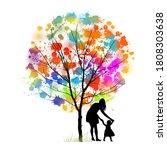 mother with her daughter in her ... | Shutterstock .eps vector #1808303638