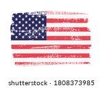 grunge american flag. vector... | Shutterstock .eps vector #1808373985