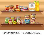 many different canned foods or... | Shutterstock .eps vector #1808389132