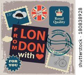 set of london labels with stamps | Shutterstock .eps vector #180838928