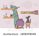 the witch is cooking something... | Shutterstock .eps vector #1808398048