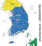south korea map | Shutterstock .eps vector #180844598