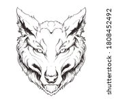 wolf line art illustration...   Shutterstock .eps vector #1808452492