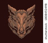 drawn wolf head illustration...   Shutterstock .eps vector #1808452498