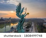 Budapest, Hungary - Aerial view of Gabriel Archangel at Heroes
